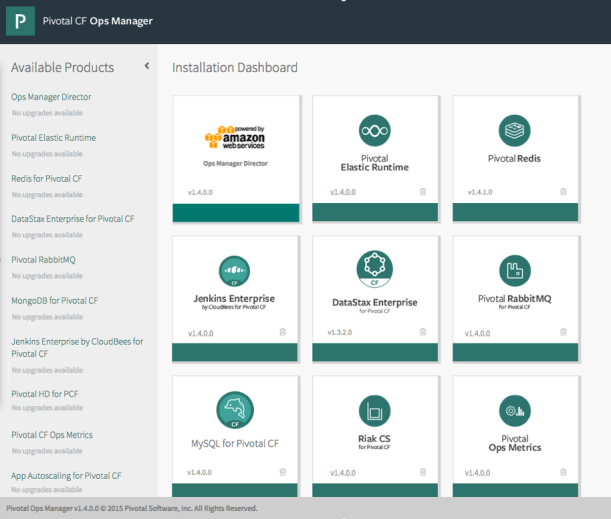 Pivotal Cloud Foundry Ops Manager with AWS Tile